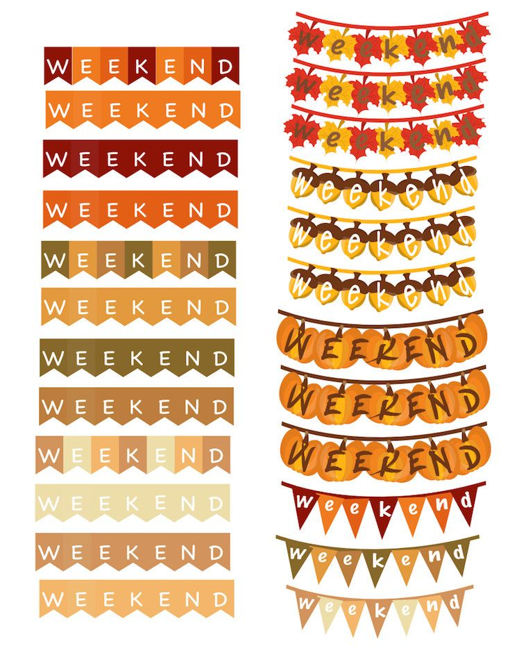 Fall weekend banners PERFECT for any planner by TaraKayDesignsPrint on Etsy