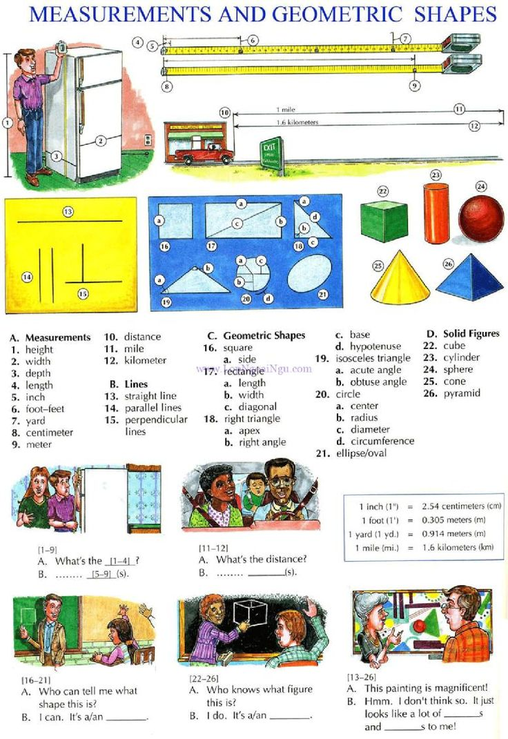 116 - MEASUREMENTS AND GEOMETRIC SHAPEES - Picture Dictionary - English Study, explanations, free exercises, speaking, listening, grammar lessons, reading, writing, vocabulary, dictionary and teaching materials