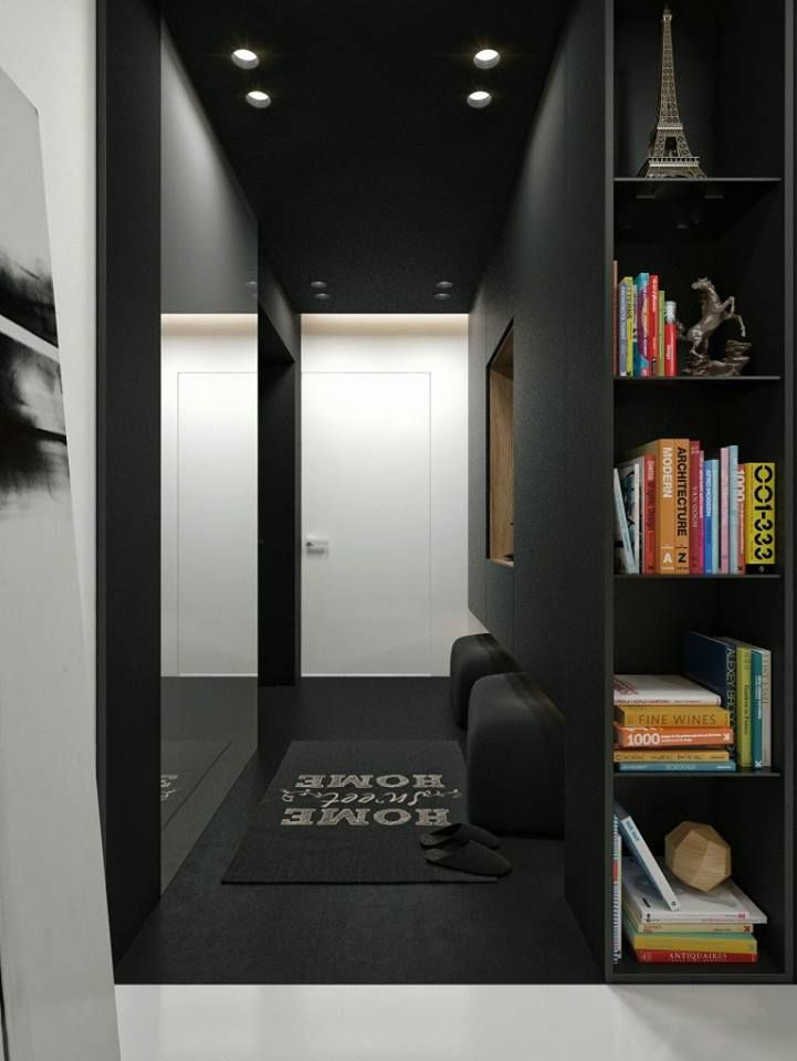 Black Color Theme Apartment Interior Design At Modern Concepts