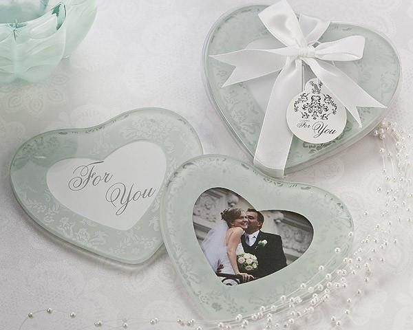 """""""Heartfelt Memories"""" Frosted Heart Photo Coasters (Set of 2)"""