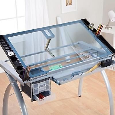 Glass Top Craft Station Adjustable Drafting Architect Drawing Table Folding Desk