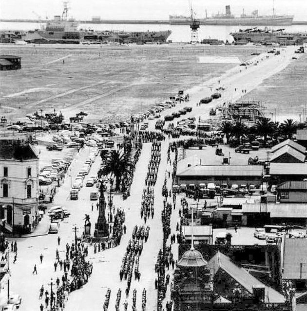 Cape Town, Still on the Water's Edge . Note the War Memorial. Adderley Street c 1945
