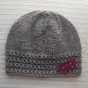 Taupe Hat with Crochet Flowers - via @Craftsy