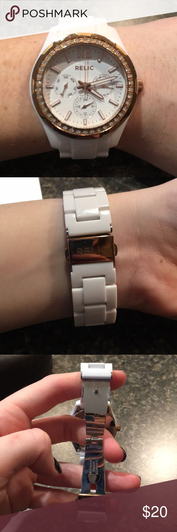 Relic Watch White Relic watch with gold details. In great condition. Very gentle use. Accessories Watches