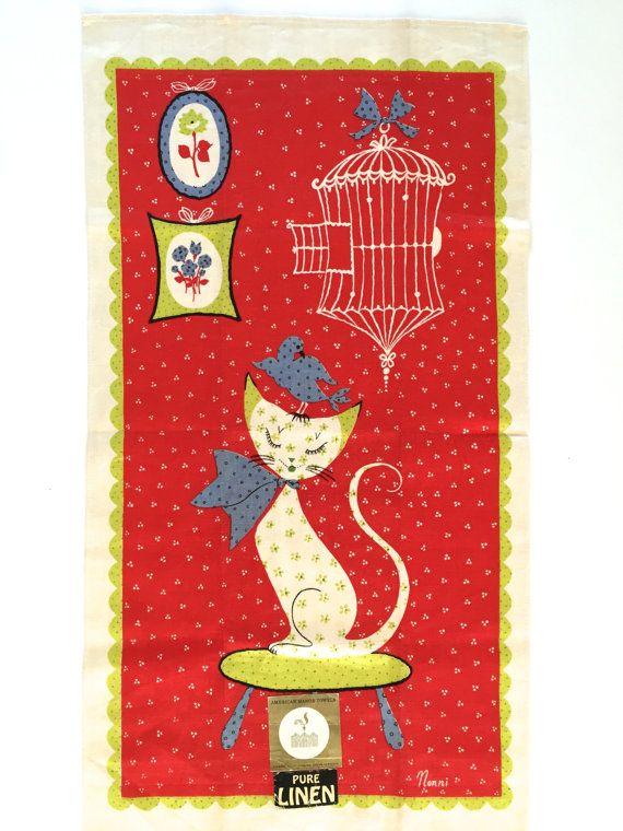 Vintage MID CENTURY Tea Towel Cat Bird Birdcage By NeatoKeen