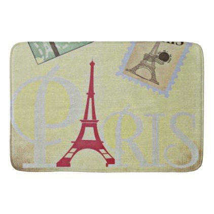 Paris France in Yellow Burlap Bathroom Mat - red gifts color style cyo diy personalize unique