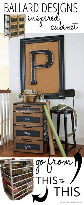 Craft Room Storage Ideas - the perfect cabinet for ribbon storage using an old wire cabinet - inspired by a Ballard Designs Cabinet.