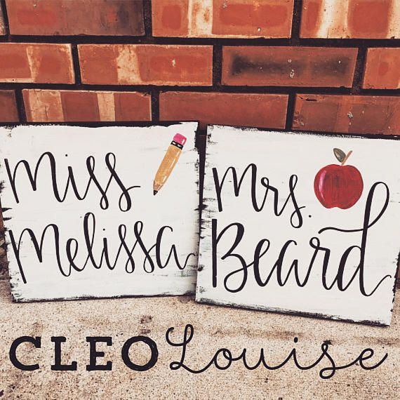 (Affliiate Link) Rustic teacher name sign. Beautiful hand painted wood sign to decorate your classroom.