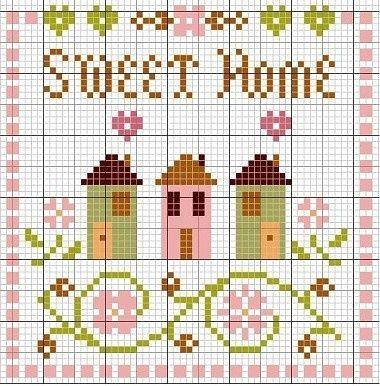 Mille Modèles Gratuits Aubaines pour tous, point de croix: Schéma point de croix Home Sweet Home