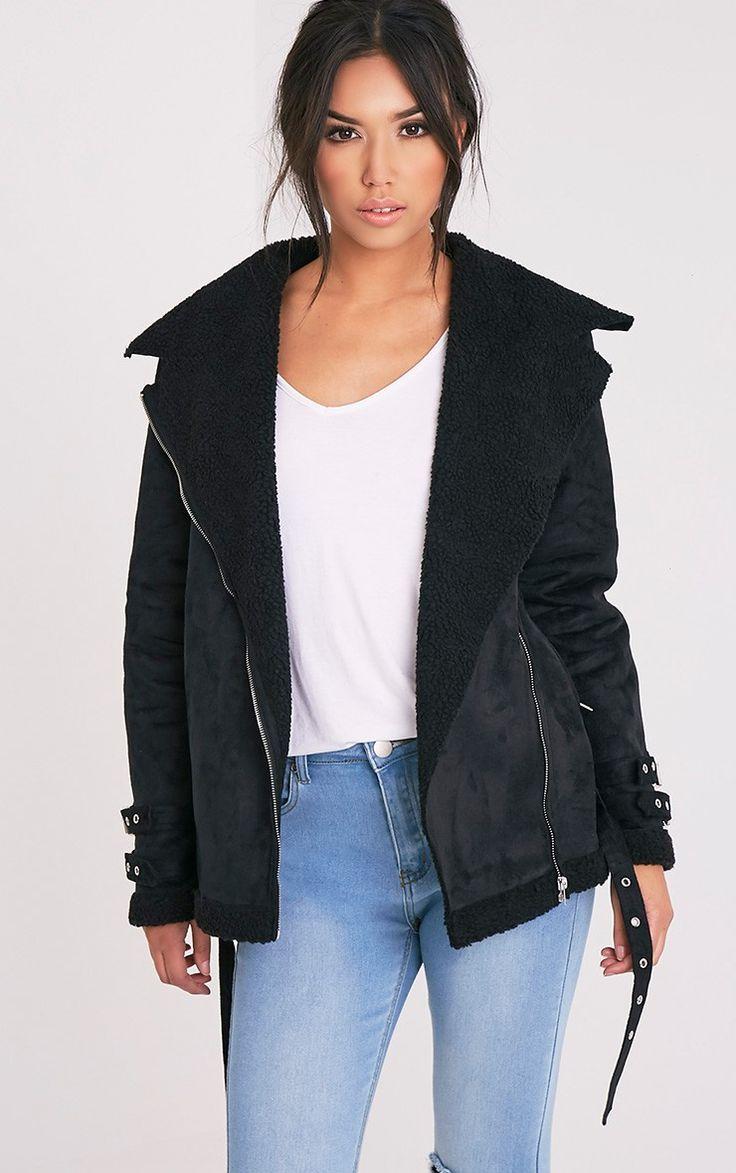 Emilia Black Faux Suede Aviator Jacket http://www.sizestyler.co.uk/product/buy/emilia-black-faux-suede-aviator-jacket-10-16021881