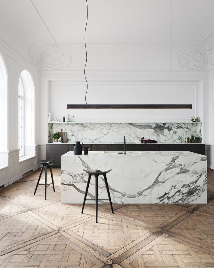 Great kitchen design in marble on wood