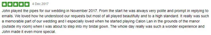 Thank you to Stephanie & Fred for this Pre Xmas Wedding Review :-)  #SouthWales #Weddingmusic #Bagpipes #Cardiff #NewportWales #NewportGwent #Bridgend #Chepstow #Bristol #Worcs #Gloucs #Pembs #Carms #Carmarthen #Brecon #Swansea #Hereford #SouthWalesWeddings #WelshWeddings #Gwent #Cowbridge #ValeofGlamorgan #BarryTown