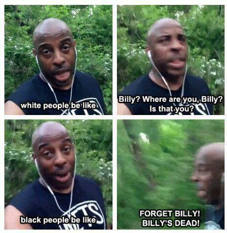 Black people vs white people in horror movies