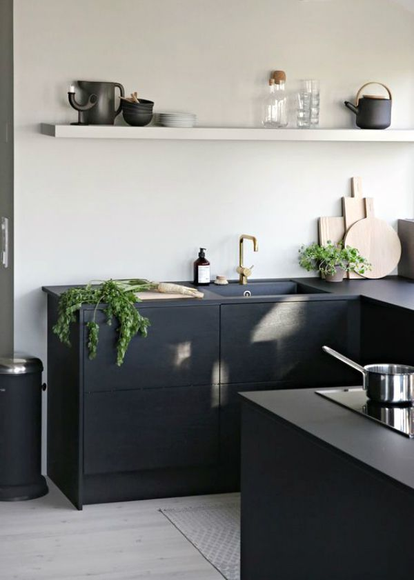 Smart black modern kitchen
