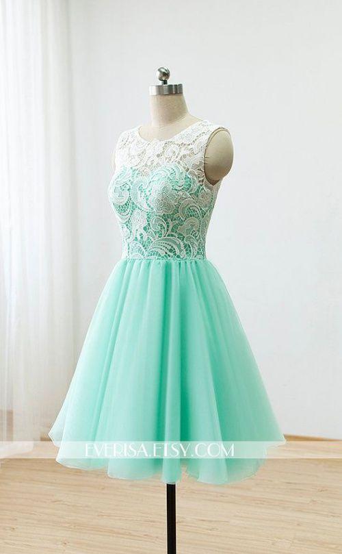 Custom Lace Bridesmaid dress Prom Dress Mint Green Dress Knee Short Dress