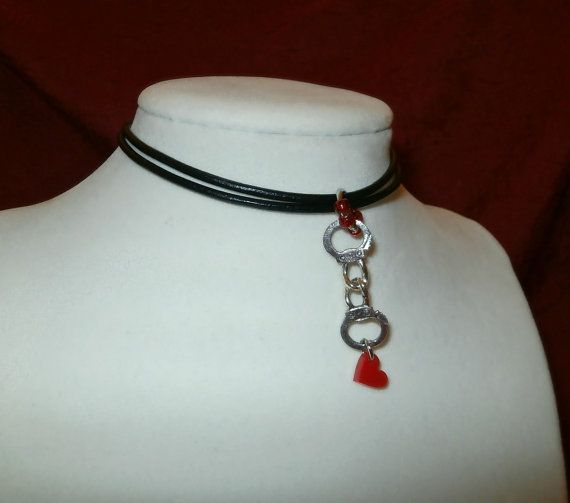Valentine Necklace. Handcuff and Heart Choker Necklace by Studio3B.