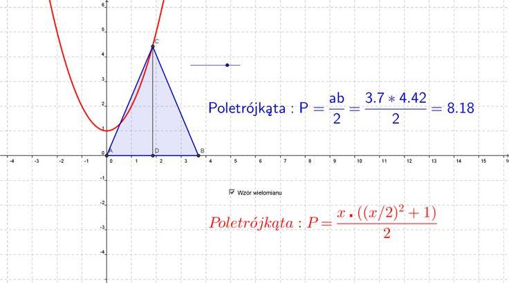 W czasie lekcji matematyki  rozwiązywaliśmy zadania tekstowe. Dotyczyły one zastosowania wielomianów do opisywania pól pewnych trójkątów czy prostokątów, których wierzchołki spełniały zadane warunki oraz należały do danych linii  prostych czy paraboli. Wyznaczaliśmy też współrzędne wierzchołków tych figur, gdy dana była wartość pola – rozwiązywaliśmy odpowiednie równania wielomianowe.