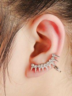 Crystal Sheen Spike Earcuff - Left ear