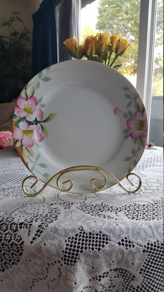 Noritake Dinner Plate Pink Blossoms Green Leaves And Gold Trim Green Stamped Japan 19322 Vintage Replacement China Col In 2020 Pink Blossom Cup And Saucer Set Noritake