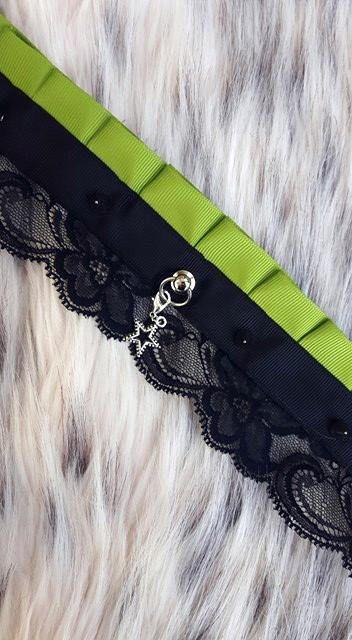 Kitten play Collar / Bdsm Chocker / pet play / green and black