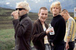 TRAINSPOTTING - Johnny Lee Miller, Ewan McGregor, Kevin McKidd and Ewen Bremner in the 1996 film Trainspotting.  Directed by Danny Boyle.  The awesome cast is coming back with a sequel called T2 later this month.  #Movies
