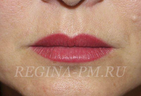 Перманентный макияж губ- эффект помады.