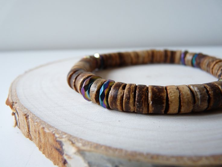 Wooden and Hematite bracelet, Coconut wood and gemstone bracelet, 8 mm unisex bracelets, men's bracelets, Stretch bracelet, Boho jewelry, men's bracelet, mens bracelets, men's jewelry, wood bracelets,  hematite bracelet,  Wood bead bracelet, multi color bracelet, gifts for mens, bracelets Wooden