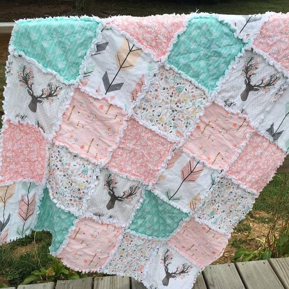 This handmade quilt was made using premium quilting cotton from Hawthorne Threads Fawn Collection and matching coordinates, as well as double napped