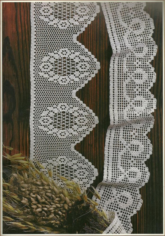 Filet crochet lace edging, flower wreath with points; loops & scallops