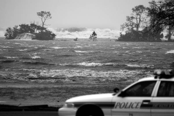 Florida Memory - Police car and storm surge during Hurricane Ivan's landfall - Fort Walton Beach, Florida. 2004