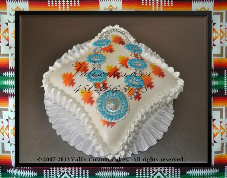 Pendleton Pillow Cake With Squash Blossom Jewelry