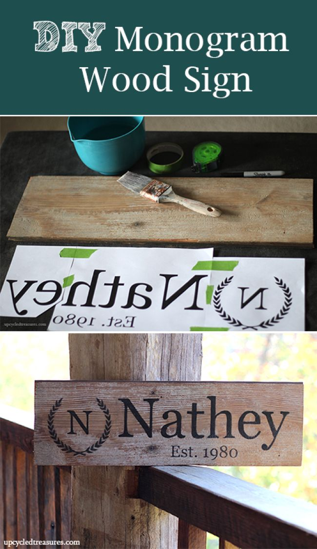 How to make your own custom wood sign. Super simple and all you need are items you are sure to already have at home. - diy-monogram-wood-sign-handmade-gift-idea
