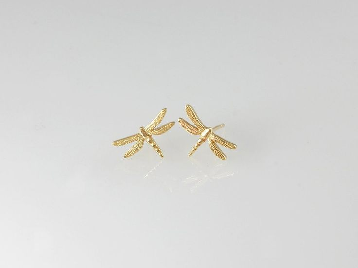 Dragonfly Stud Earrings. NZ$69 Silver and NZ$199 in 9ct Gold. Detailed and delicate, our delightful dragonfly stud earrings are one of our bestsellers! They are available as stud earrings in gold and silver. Also in the same dragonfly jewellery range, hoop earrings, bracelets, and as a necklace.  Jewellery made @jewelbeetle in Nelson, New Zealand.