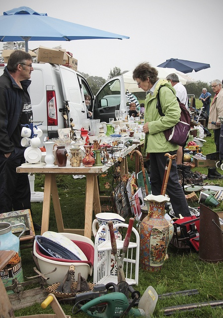 Brocante market in a field, Normandy, France