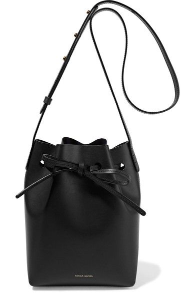 Black leather (Cow) Drawstring top Comes with dust bag Due to the delicate nature of the material, natural veining and marks may occur Weighs approximately 0.9lbs/ 0.4kg Made in Italy