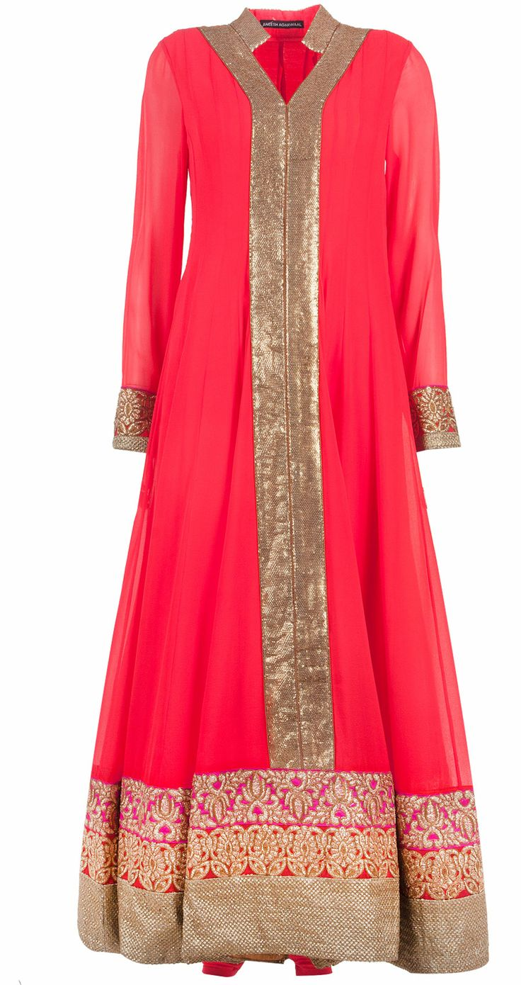 Embellished coral kurta set by ANEESH AGARWAAL. Shop at http://www.perniaspopupshop.com/whats-new/aneesh-agarwaal-embellished-coral-kurta-set-anac0813sqpl.html