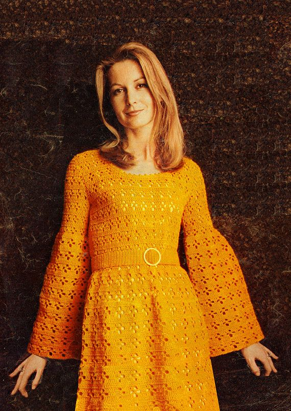 PDF Vintage Womens Ladies Dress Crochet Pattern Angel Sleeve