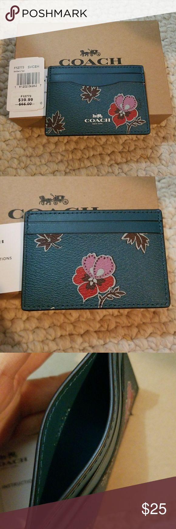 Coach Dark Teal Floral Credit Card Holder Brand new with tags. Come with free gift box. Willing to accept reasonable offers. I ship one business day. Coach Bags Wallets