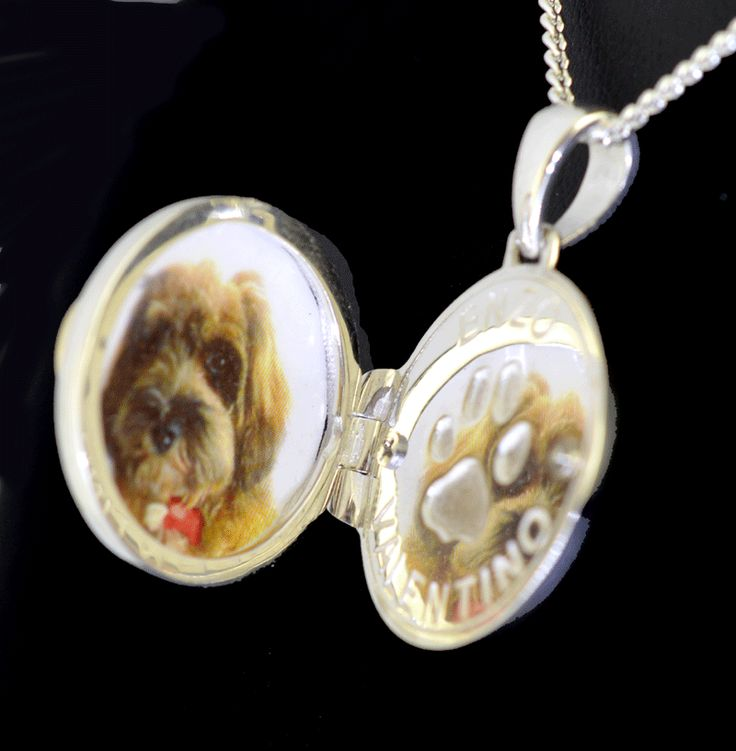 Fur Friend memorial locket with photo, personal inscription and locket of fur. Sterling silver and yellow gold