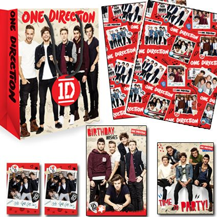 One Direction Official Birthday Pack Includes: 1 x Birthday Card, 1 x Medium Sized gift bag, 1 x 2 sheet 2 tag wrap packs, 1 x Pack of 10 Party Invitations. Only £8.50 (20% saving) and FREE UK Delivery. Take a closer look at https://www.danilo.com/Shop/Cards-and-Wrap/Birthday-Packs/One-Direction-Birthday-Pack