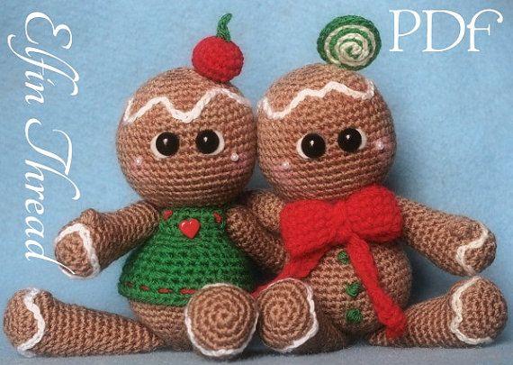 Elfin Thread - Gingerbread Cookies Dolls Amigurumi PDF Pattern (Crochet Gingerbread Man Pattern)