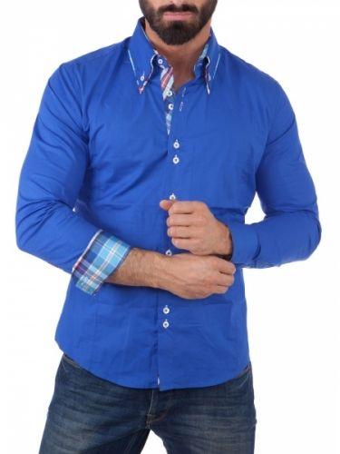 Tøff skjorte med røft design og unike detaljer. Skjorten har en tøff dobbel krage og flotte knapper.Ta på deg et par tøffe jeans og denne skjorten og du er klar for alle anledninger. Litt liten i størrelsen, anbefales å gå opp en størrelse fra normalt. Modellen på bildet er 183cm høy veier 78kg og bruker strl. L.Merke: CarismaModell: ClubstarFarge: Royal BlåMateriale: 97% bomull og 3% elastanStørrelse: S, M, L, XL og XXL