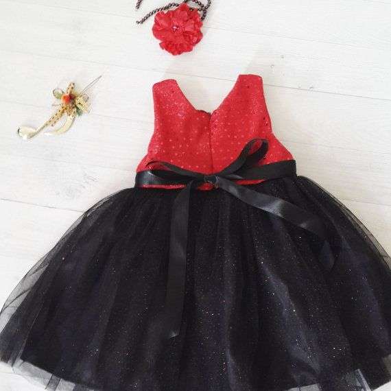 Black and red Christmas dress for girl baby dress by DearMimiDress