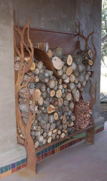 Built-in wood storage near outside fire pit