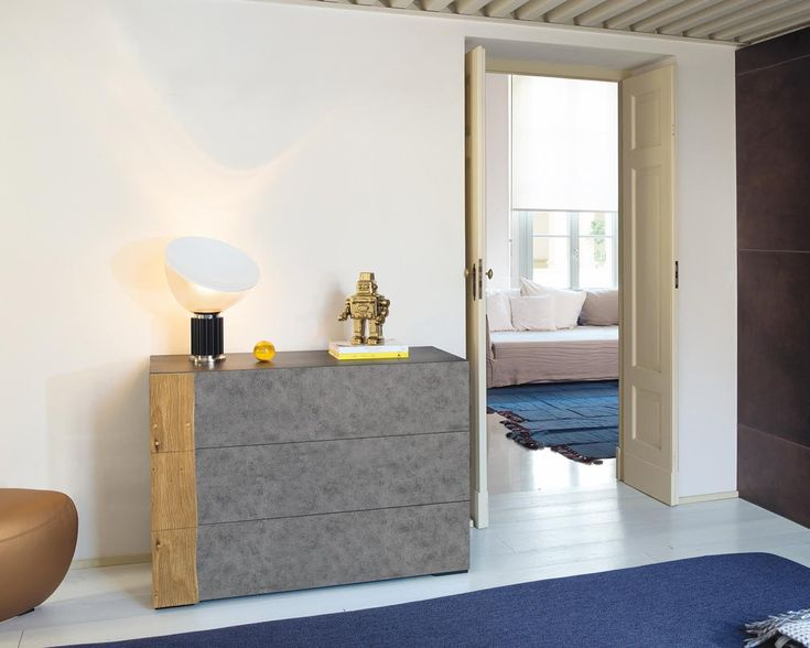 INK | The Link bedroom is completed by a dresser. You can choose the finish of the ash framed drawer chest with oxidized metal frontside. The antique wooden board acts as a handle, enriching the furniture and making it unique. An extremely functional and design furnishing accessory. #NatureDesign #madeinitaly