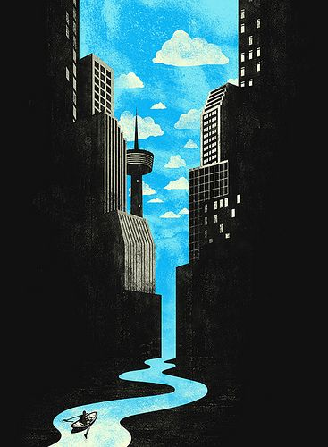 City waterfall illustration