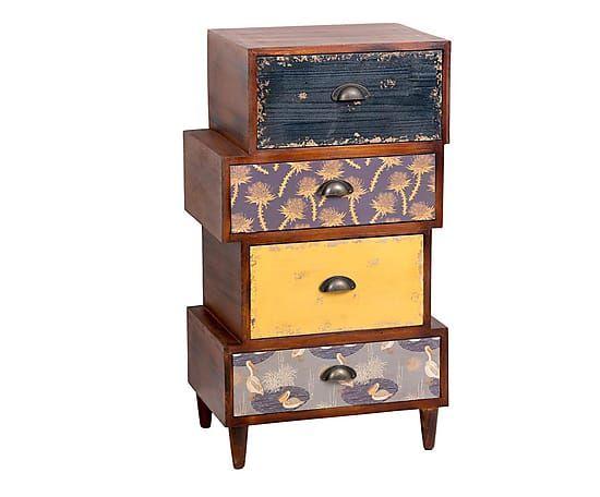 Cassettiera 4 cassetti in legno di abete Erik marrone/bianco - 50x80x35 cm