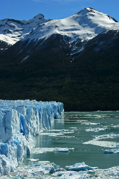 The perito Moreno Glaciar meeting Lago Argentino near the Argentine town of El Calafate