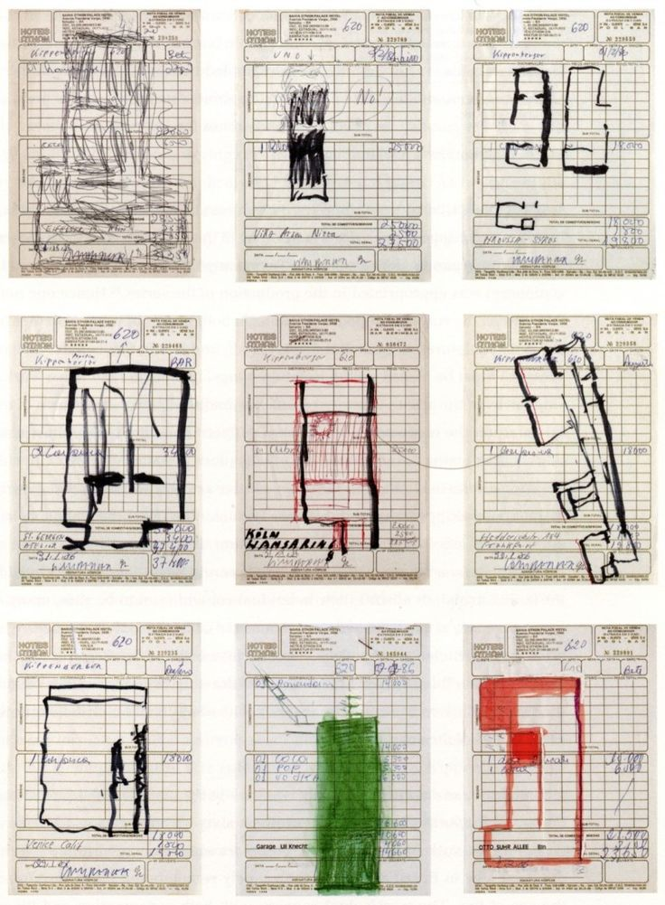 "Martin Kippenberger; ""Input, Output"". 1957-1988. Oil crayon, lead pencil, ballpoint pen, and Tipp-Ex on invoices of the Bahia Othon Palace Hotel from 1986-1988."