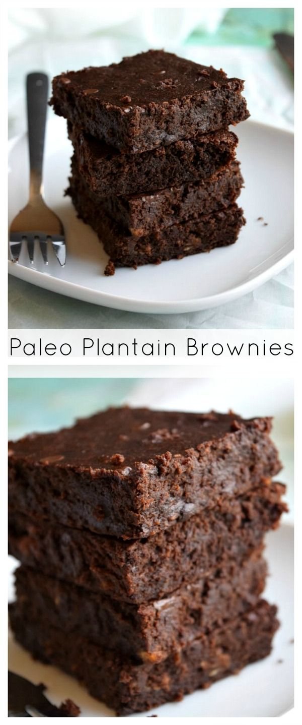 PALEO Plantain Fudge Brownies  #paleo #grainfree #glutenfree